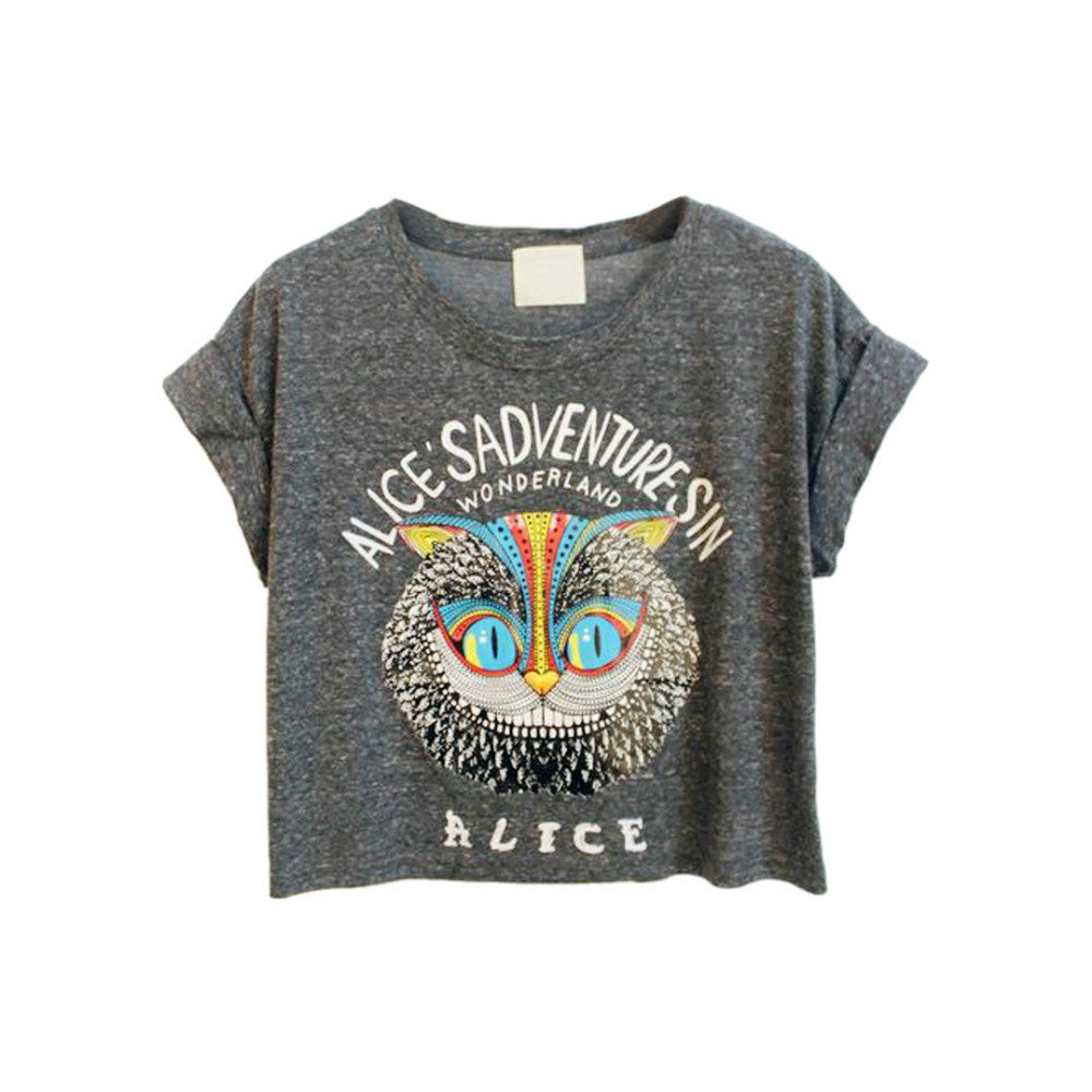 Latest New Women Loose Gray Owl Pattern Crop Top with ALICE'S ADVENTURES IN WONDERLAND Letters Print One Size