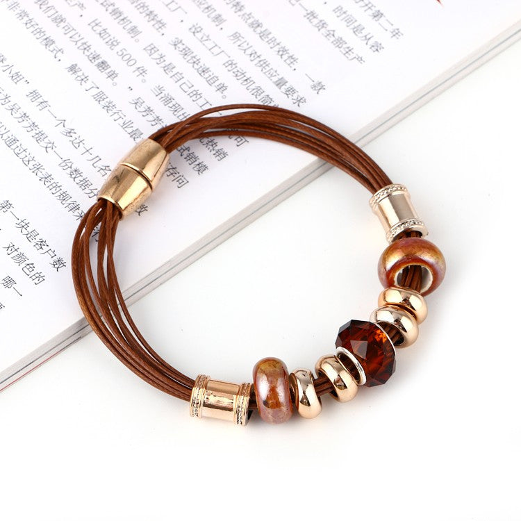 Leather Bracelet Crystal Wrap Bracelets For Women Multilayer Bracelets& Bangles Ladies Fashion Jewelry
