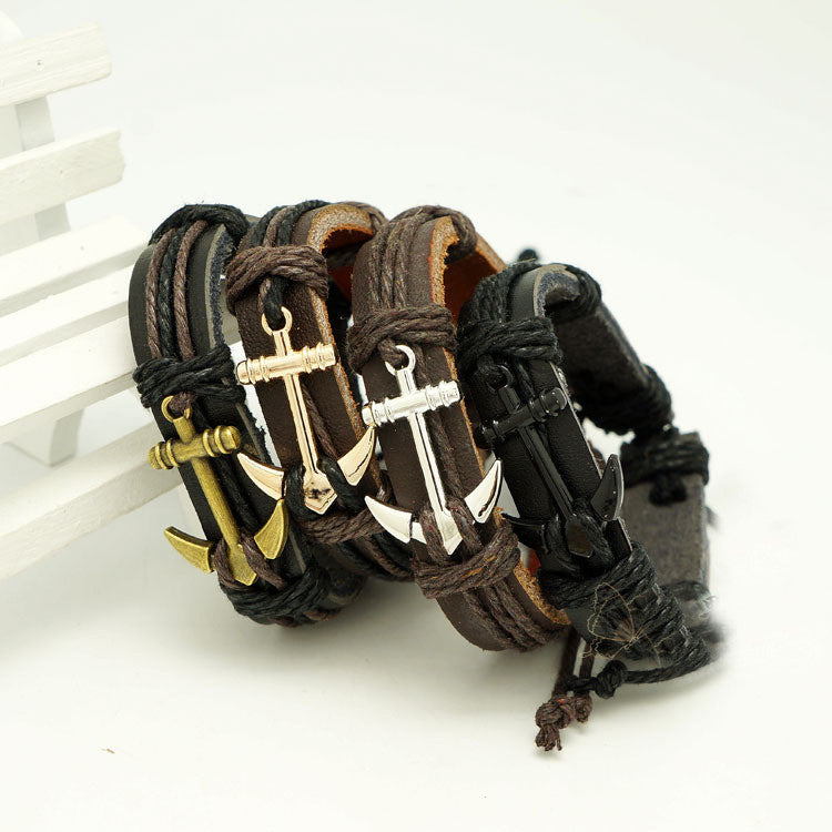 Male Bangle Bracelet Chain Hand-woven Waistband Unisex Pu Leather Rope Bracelet For Men Women Anchors Woven Bracelet Charm