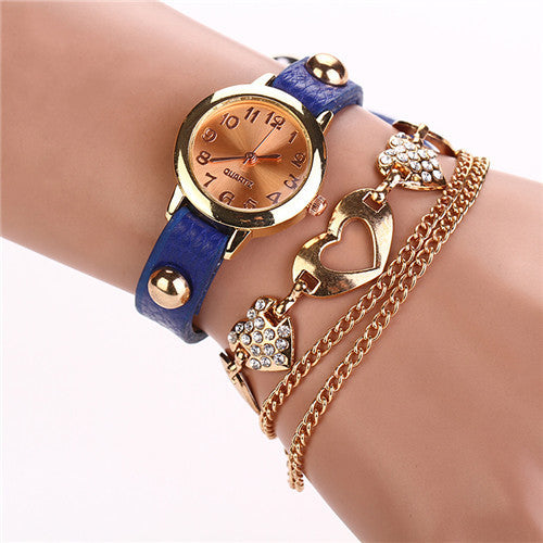 Leather Heart Luxury Wrist Watch Gold Women Dress Watch Designer Belts High Quality Relogio Feminino Marcas Famosas Chain