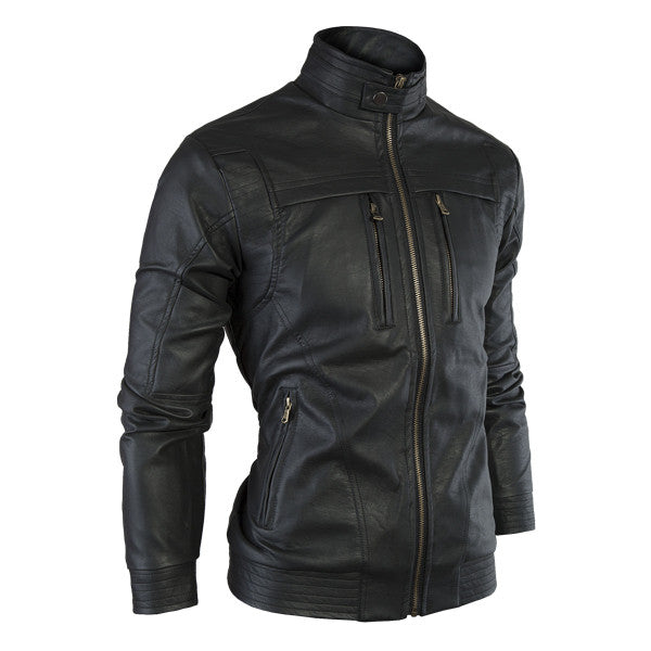 Leather Jacket Men Stand Collar Autumn New Men's leather Jacket +Locomotive style Men's Slim Fit Leather Clothing Black Brown
