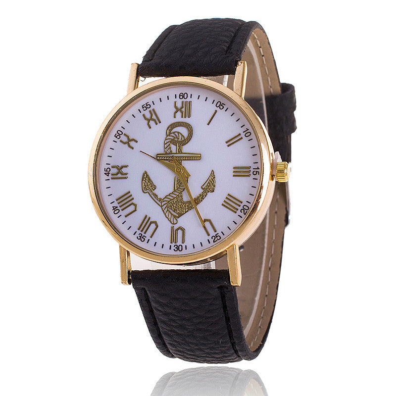 cf3e09118c4 Leather strap Anchor GENEVA Watches Relogio Feminino Fashion Women Quartz  Watch Casual Luxury Watches