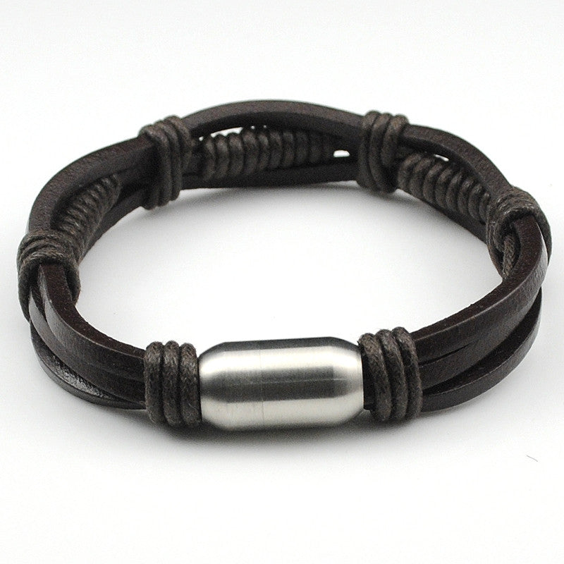 Leather Bracelet Wrap Bracelet Bracelet Men Wristband Rope Chain Handmade Jewelry