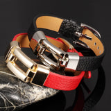 Leather Charm Bracelets For Woman Man Personality Black/Red Color Stainless Steel Women Men Jewelry Bracelet Gift