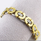 Length 21.5 cm Wide 11mm Fashion Men's Jewelry Stainless Steel Silver/Gold Byzantine Bracelet