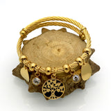 Life Tree Bracelet Charm Tree Resin cabochon Crystal Bracelet 18K Gold Bracelets & Bangles Fashion Women Jewelry