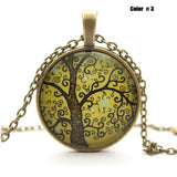 Life Tree Pendant Necklace Art Tree glass cabochon Necklace Bronze chain vintage choker statement Necklace Fashion women Jewelry