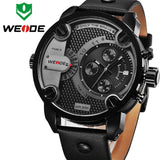 WEIDE New Oversized Men's Quartz Leather Strap Sports Military Watches Luxury Brand Quartz Watch 3ATM Water Resistant