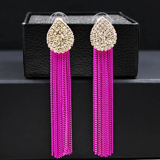 Long Earrings For Women Bijoux Gold Plated Metal Tassel Drop Earring New Fashion Jewelry