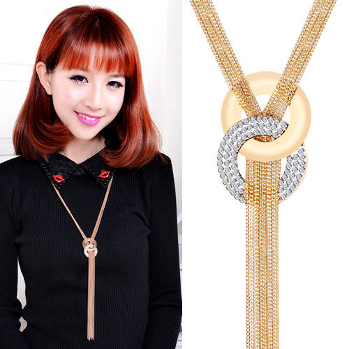Long Tassel Necklace Pendants Multilayer Collares Women Fashion Gold Crystal Sweater Chain Necklace Maxi Jewelry Collier