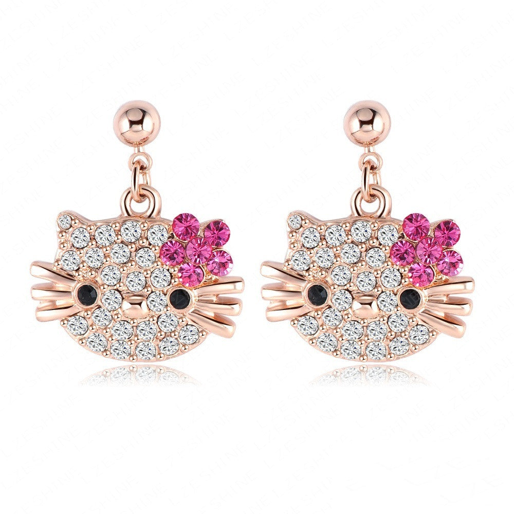 Lovely Cat Flower Stud Earring For Girls 18K Rose Gold Plate Austrian Crystals Kitten Earings With SWA Elements