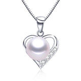 Lovely heart pendant necklace 100% genuine natural freshwater pearl necklace&pendant for women white/pink/purple