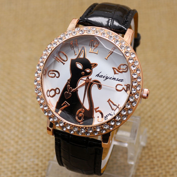 Lovely Black Crystal Cat Round Dial Quartz Watch Women Watch