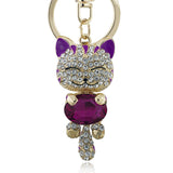 Lucky Enamel Smile Cat Crystal Rhinestone HandBag Keyring Keychain Purse Bag Buckle For Car Party Gift Keyfob Jewelry