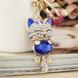 Lucky Smile Cat Crystal Rhinestone Keyrings Key Chains Holder Purse Bag For Car christmas Gift Keychains Jewelry llaveros