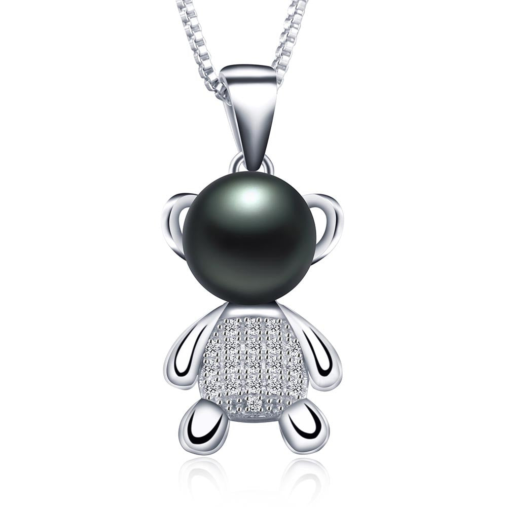 Lucky bear pendant necklace genuine 8-9mm freshwater pearl jewelry for women 2016 new fashion with gift box top quality