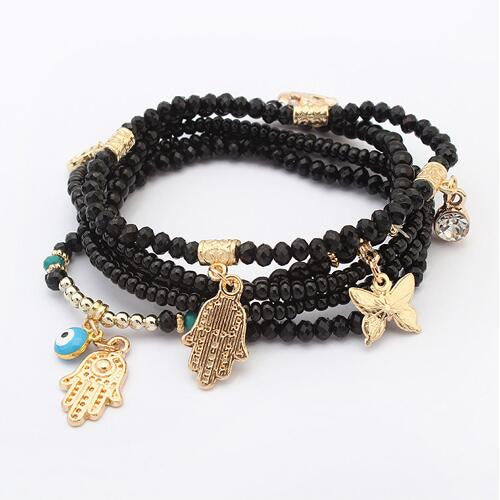 Lucky Kabbalah Fatima Hamsa Hand Blue Evil Eye Butterfly Charms Bracelets & Bangles Multilayer Beads Turkish Women Pulseras