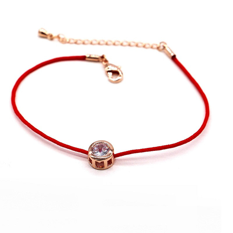 Lucky zircon red string chain bracelet 2016 new bijoux simple bracelets for women hot selling classic jewelry