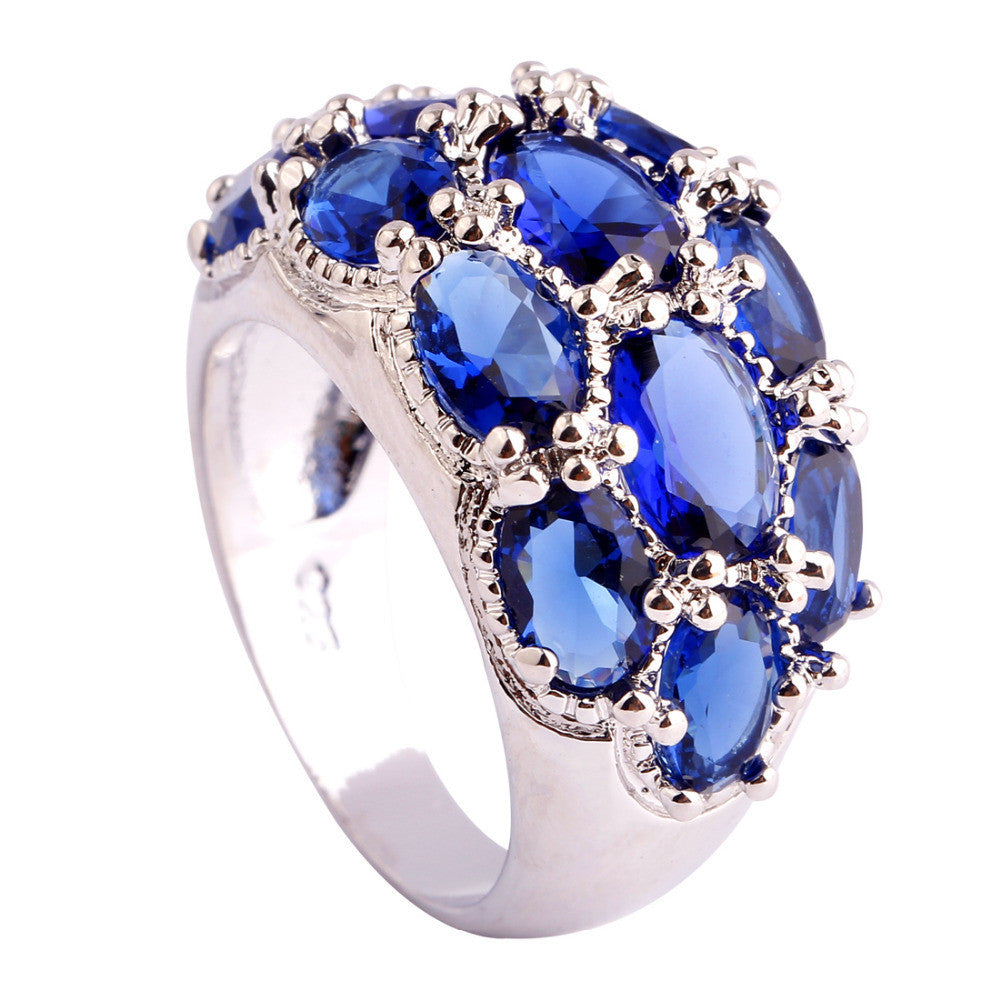 Luxuriant Bohemia Style Jewelry Oval Cut Blue Sapphire Quartz AAA Silver Ring