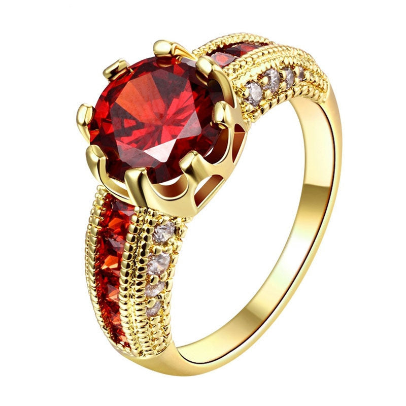 Luxurious Ruby Jewelry Party Accessories 18K Gold Plated Rings For Women