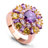 Luxury 18K Gold Plated Finger Rings with Purple and Champagne Zircon for Women Wedding