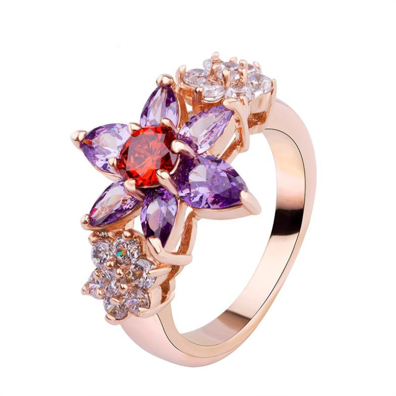 Luxury 18K Gold Plated Flower Finger Rings with Purple and Red Zircon for Women Wedding