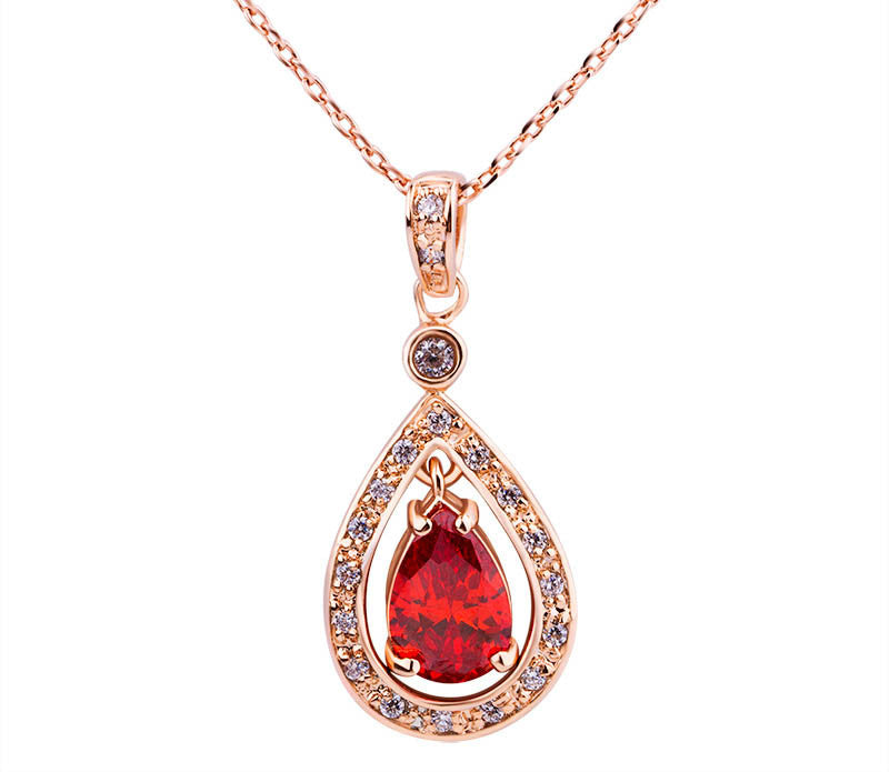 Luxury 18K Gold Plated Pendant Necklace with Red Zircon For Women Party jewelry