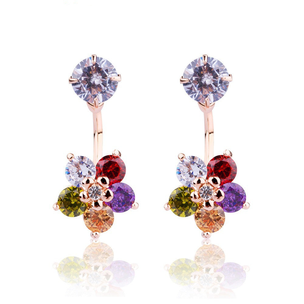 Luxury 18k Gold Five-pointed Star Stud Earrings with Multicolor Zircon Stone Women Party jewelry