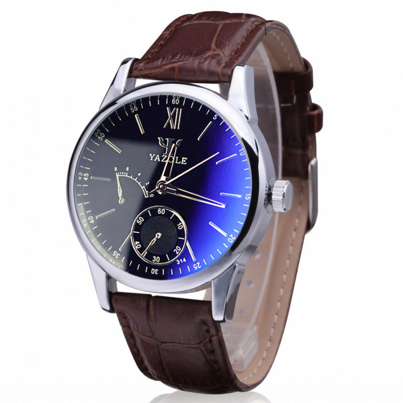 Luxury Brand Design Blue Ray Glass Casual Watch Pu Leather Watch Men 2015 Quartz Watch Roman Number Male Wrist Watches For Men