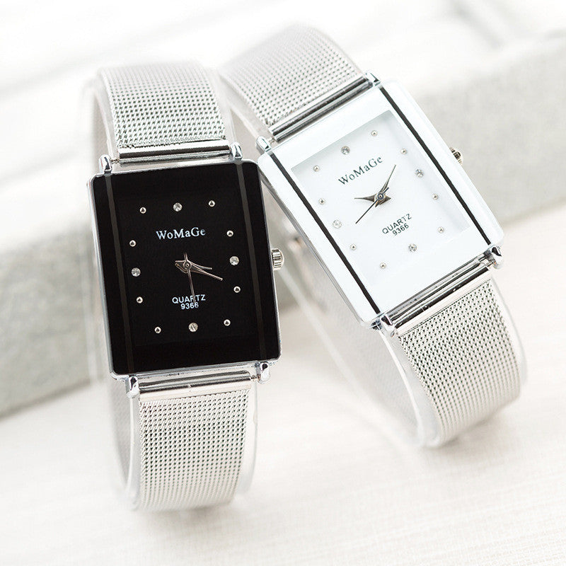 Luxury Brand Rectangle Women Watch Mesh Belt Quartz Watch Women Wristwatch Lady Dress Watch
