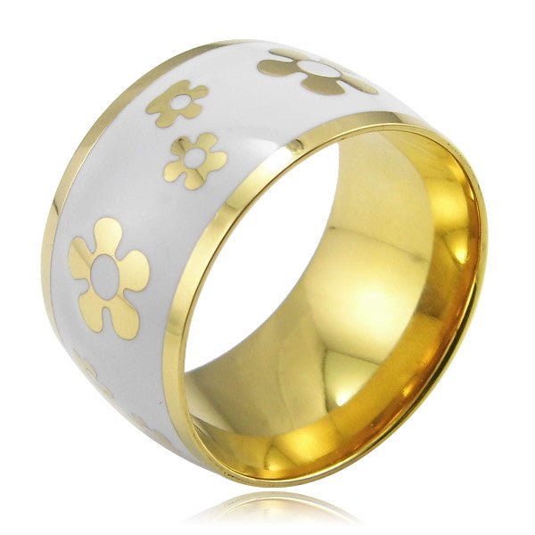 Luxury Fashion Enamel Jewelry Women's Stainless Steel Resin Ring New Arrival