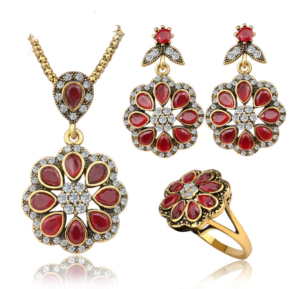 Luxury Ruby Jewelry Fashion Petal Type Nigerian Wedding African Beads Gold Plated Jewelry Sets For Women