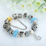 Luxury Silver Charm Bracelet & Bangle for Women With High Quality Murano Glass Beads DIY Birthday Gift