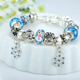 Luxury Silver Charm Bracelet & Bangle for Women With High Quality Snowman Murano Glass Beads DIY Christmas Gift