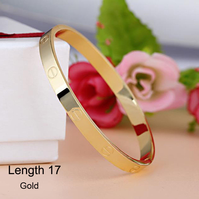 Luxury Stainless Steel Cuff Bracelets&Bangles Top Gold Plated Brand CZ Crystal Buckle Love Charm Bracelet For Women Jewelry