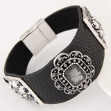 Luxury Brand Fashion Handmade Gem Rhinestone Magnetic Clasp Leather Bracelets & Bangles for Women Wide pulseras mujer
