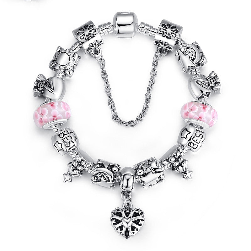 Luxury Christmas Series European Beads Bracelet for Women with Fashion Design Oxidation Heart Charms