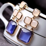 Luxury Elegant Ocean Blue Sapphire New Fashion Drop Earrings