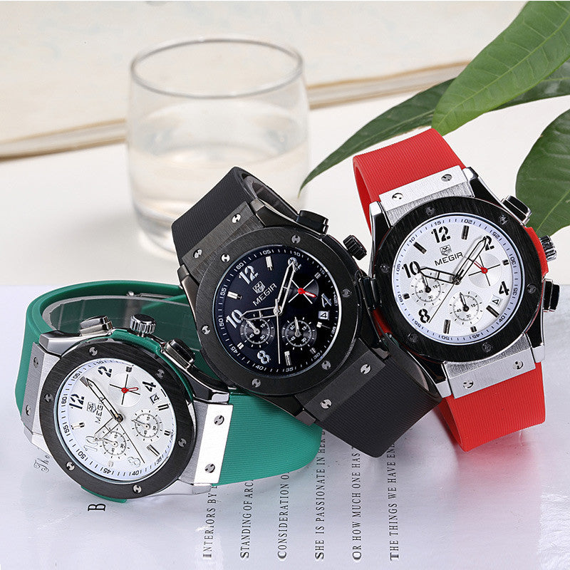 MEGIR Auto Date Chronograph Men Watch Waterproof Fashion Casual Silicone Strap Military Sport Watches Clock