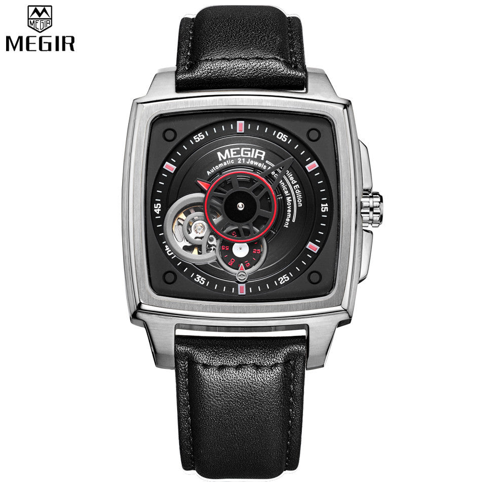MEGIR Automatic Mechanical Men Watches Black Silver Dial Black Leather Band Watch Men Wristwatch Relogio Masculino