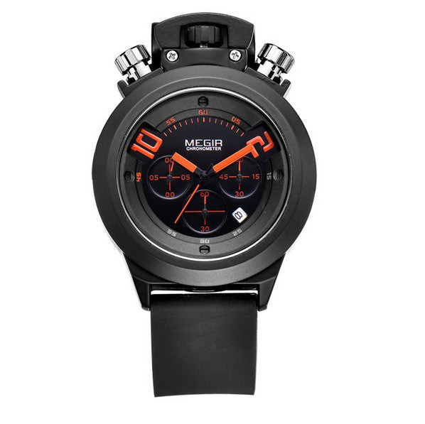 MEGIR Luxury Brand Black Silicone Strap Analog Date Men's Quartz Watch Chronograph 6 Hands 24 Hours Men Watch