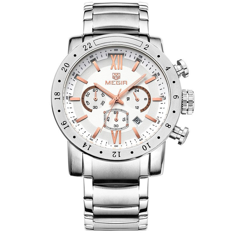 MEGIR Men Watches Top Brand Luxury Watches Chronograph 6 Hands 24 Hours Men Stainless steel Watches
