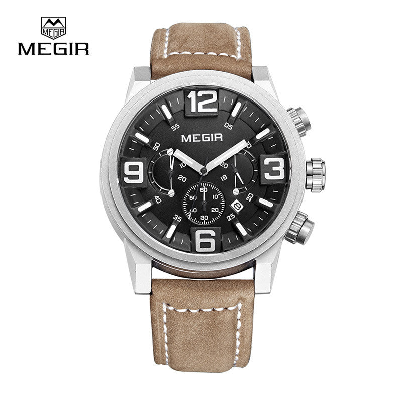 MEGIR new fashion casual quartz watch men large dial waterproof chronograph releather wrist watch relojes
