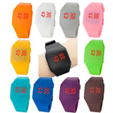 Unisex Watch Red LED Digital Square Rubber Band Men & Women Led Wrist Watch