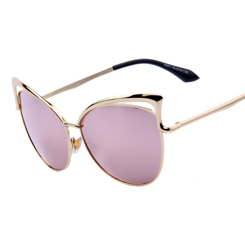 Fashion Women Brand Design Cat Eye Sunglasses Alloy Frame Women Luxury Cat Eye Sun Glasses