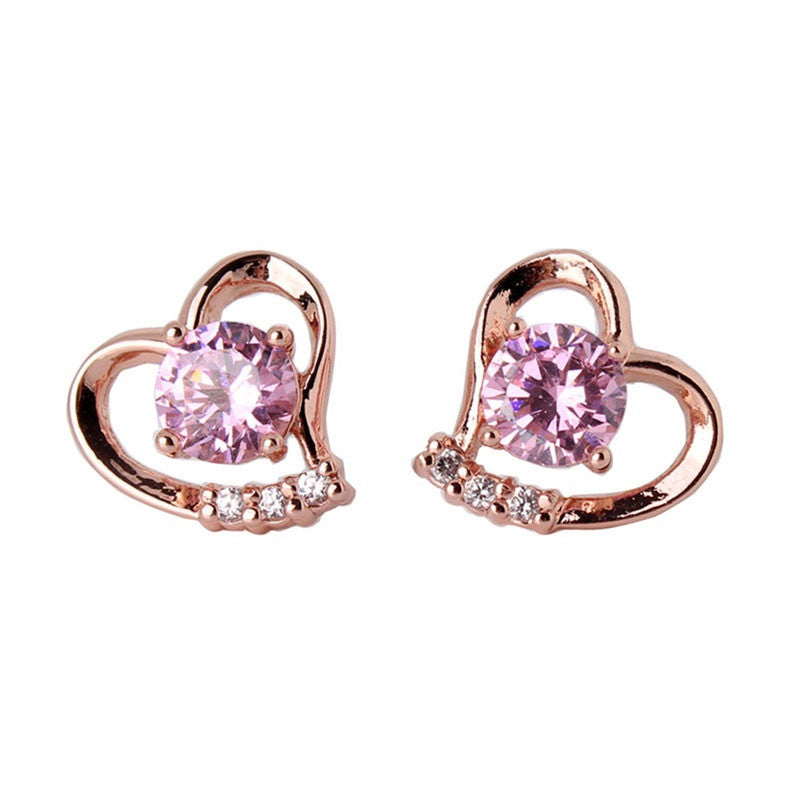 Fashion Love Heart Earrings Jewelry Rose Gold/Silver Plating Zirconia Crystal Stones Stud Earrings Female