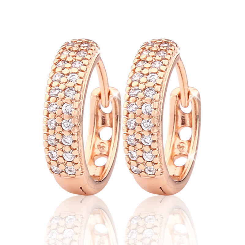New Arrival Luxurious Hoop Earring Ladies Fashion Shining Crystal Zircon Earrings for Women Wedding Accessories