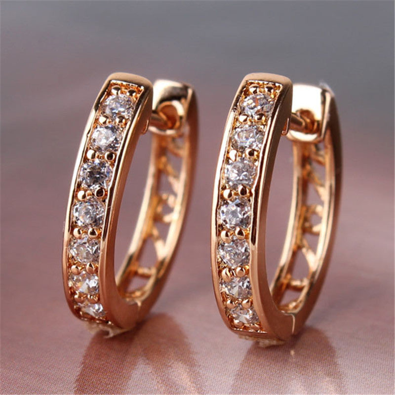 Earrings for Women White Crystals AAA Cubic Zirconia Hoop Earrings Women's Fashion Jewelry