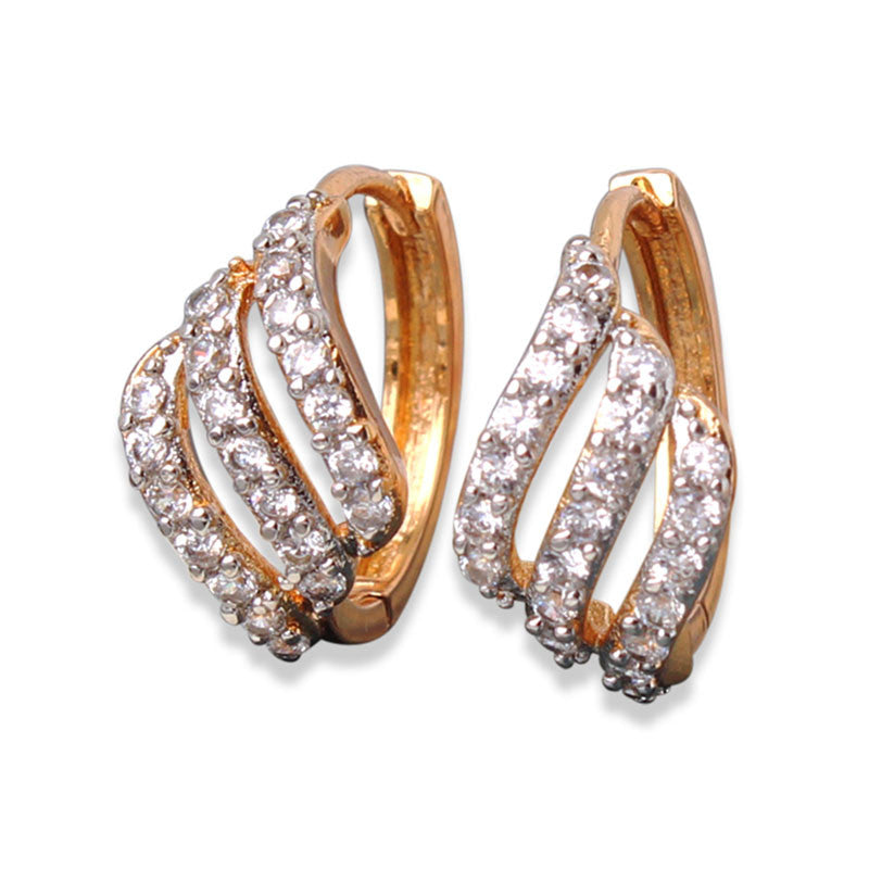 Women Fashion Hoop Earrings 3 Rows White Crystals AAA Cubic Zirconia Huggie Earrings Brinco Jewelry