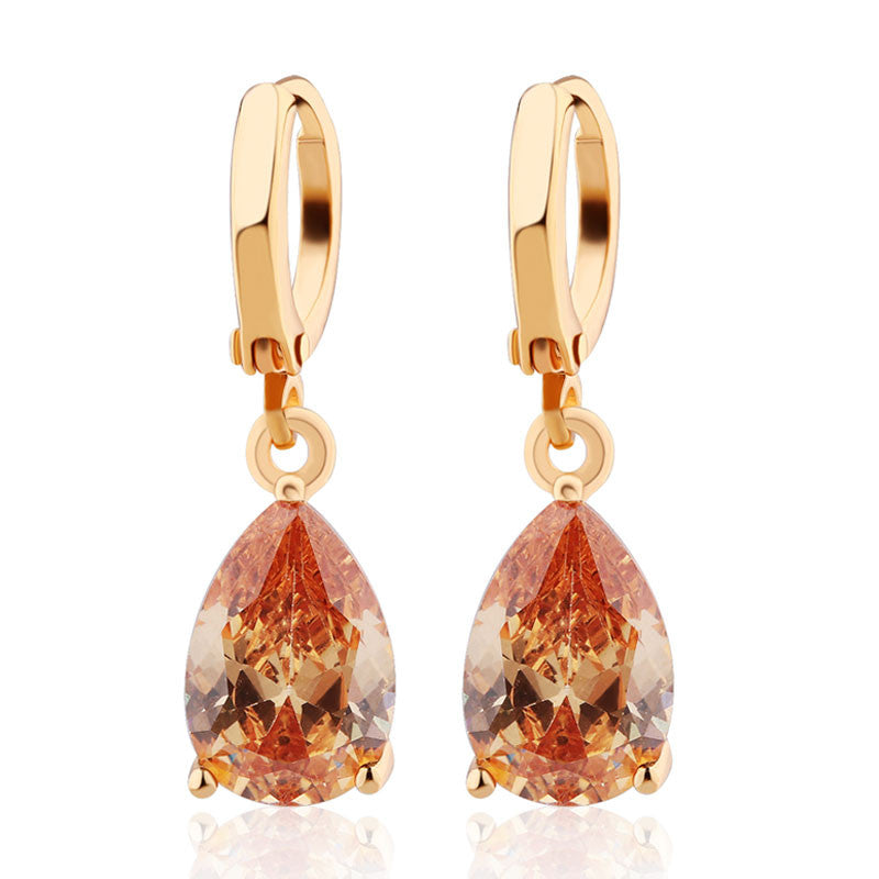 Fashion Drop Earrings Hot Sale Gold Plated Earings AAA Cubic Zircon Lovely Dangle Earring for Women